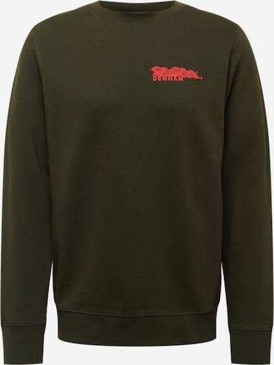 DENHAM Sweatshirt 'AKURA' in de kleur Donkergroen / Rood, Productweergave