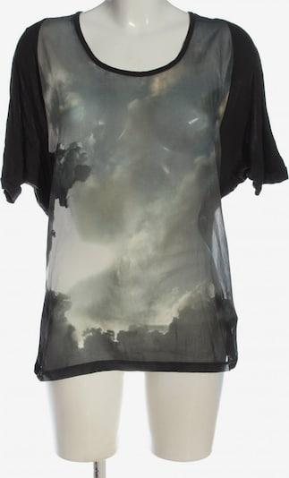 ZARA Kurzarm-Bluse in S in hellgrau / schwarz, Produktansicht