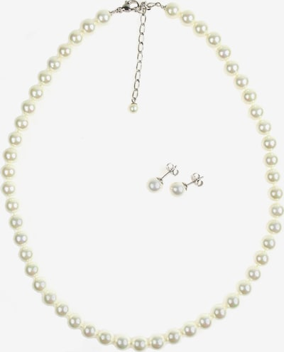 Orquidea Perlenkette + Ohrringe 'Selena' in silber / weiß, Produktansicht