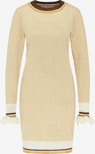 MYMO Gebreide jurk in de kleur Bruin / Geel / Wit, Productweergave