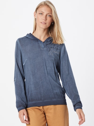 Soccx Bluse in taubenblau / schwarz, Modelansicht