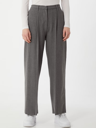 KnowledgeCotton Apparel Trousers with creases 'POSEY' in Dark grey / White, View model