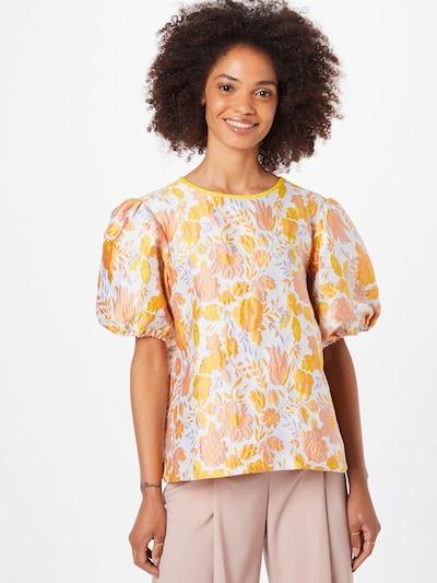 Résumé Blusa 'Frank' en amarillo / lila claro / naranja / blanco, Vista del modelo
