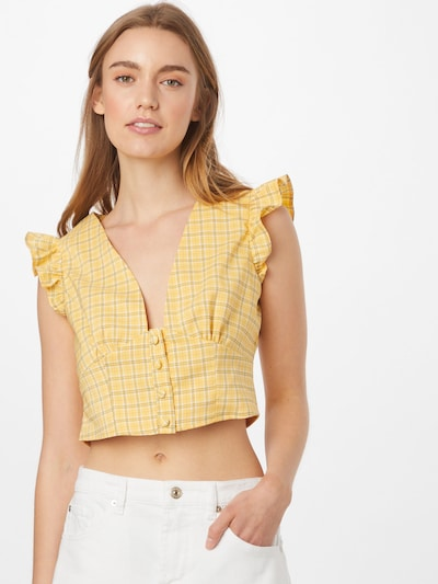 Fashion Union Blouse 'VELINO' in de kleur Bruin / Geel / Wit, Modelweergave