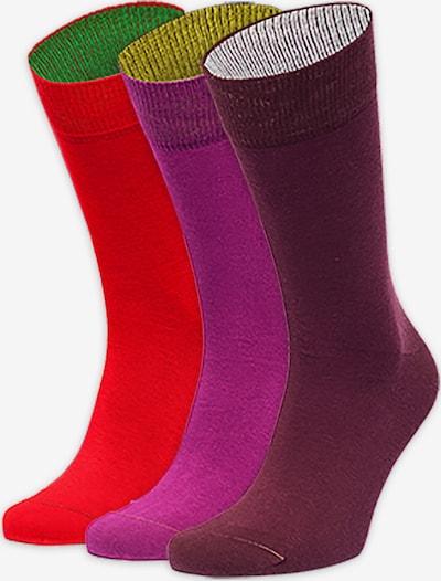Von Jungfeld Chaussettes en violet néon / pourpre / rouge néon, Vue avec produit