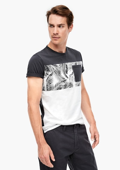 s.Oliver T-Shirt in anthrazit / weiß: Frontalansicht