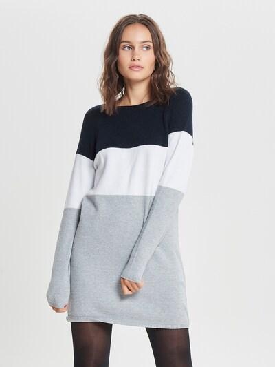 ONLY Kleid 'LILLO' in nachtblau / grau / weiß, Modelansicht