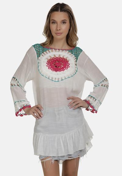 Rochie tip bluză IZIA pe verde petrol / roz pitaya / alb, Vizualizare model
