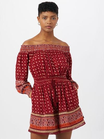 Superdry Kleid in creme / grau / orange / bordeaux, Modelansicht