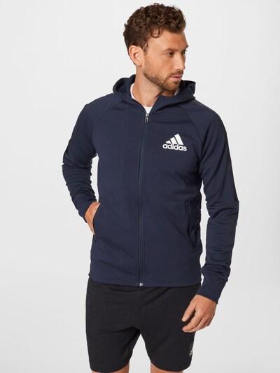 ADIDAS PERFORMANCE Спортна жилетка с качулка в нощно синьо / бяло: Изглед отпред
