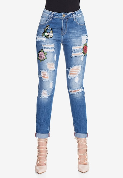 CIPO & BAXX Jeans 'Patched Rose' in de kleur Blauw, Modelweergave