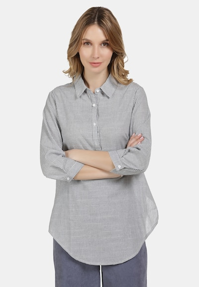 Usha Schlupfbluse in grau / weiß, Modelansicht