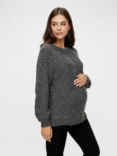 Pieces Maternity Pullover 'SHELBY' in dunkelgrau: Frontalansicht