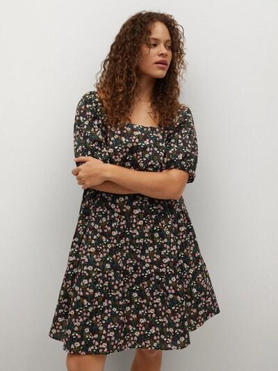MANGO Kleid 'Nieve' in marine / grasgrün / altrosa / schwarz / weiß, Modelansicht