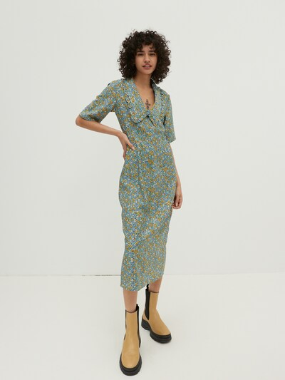 EDITED Blousejurk 'Nathaly' in de kleur Blauw / Geel / Groen / Wit, Modelweergave