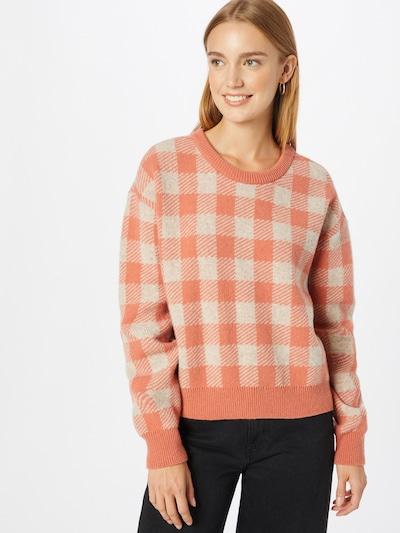 KnowledgeCotton Apparel Pullover 'MYRTHE' in orange / weiß, Modelansicht
