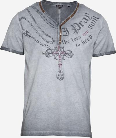 Key Largo Shirt 'LEGACY' in de kleur Antraciet / Lichtgrijs / Donkerrood, Productweergave