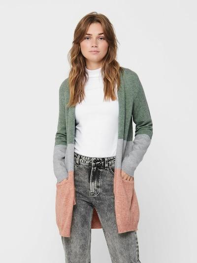 ONLY Cardigan in grau / grün / rosa, Modelansicht
