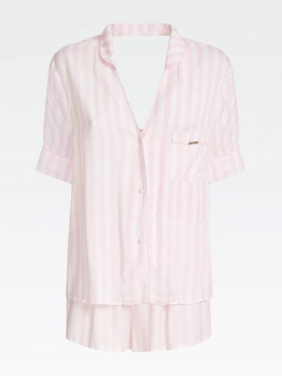 GUESS PYJAMA-SET STREIFENPRINT in pink / weiß, Produktansicht