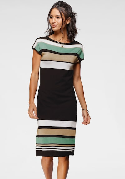 BRUNO BANANI Knitted dress in Sand / Turquoise / Black / White, View model
