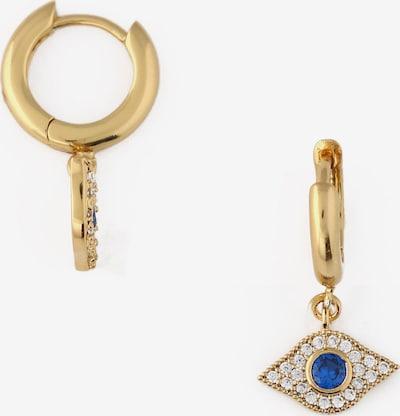 Orelia Ohrringe 'Evil Eye' in blau / gold / transparent, Produktansicht
