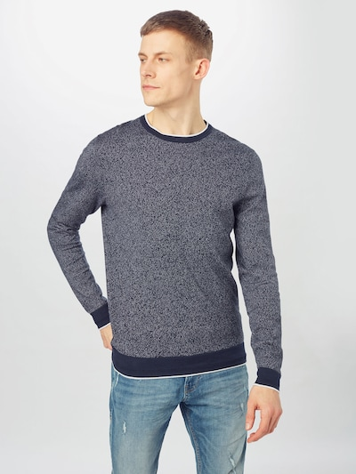 SELECTED HOMME Sweater 'FLINT' in Dark blue / White: Frontal view