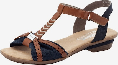 RIEKER Sandales à lanières en bleu marine / marron, Vue avec produit