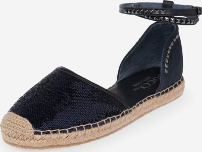 Soccx Espadrille mit Pailletten und Knöchelriemen in dunkelblau, Produktansicht