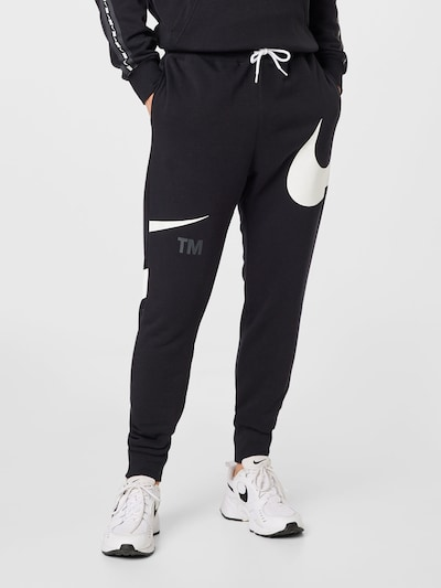 Nike Sportswear Hlače 'Swoosh' u siva / crna / bijela, Prikaz modela