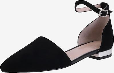 Ekonika Ballerinas aus samtigem Velours in schwarz, Produktansicht