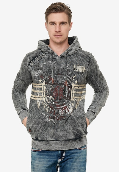 Rusty Neal Oil Washed Hoody mit Front-Print in grau: Frontalansicht