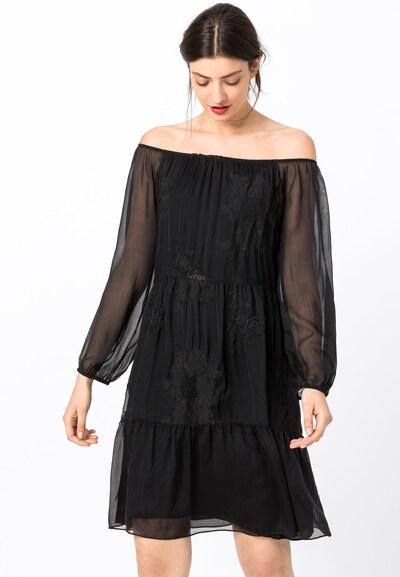 HALLHUBER Seidenkleid mit Carmenausschnitt in schwarz, Modelansicht