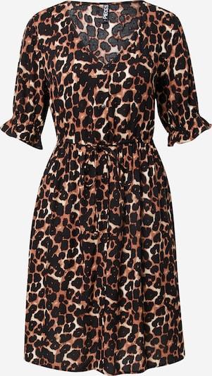 PIECES Kleid 'CARLA' in hellbraun / schwarz / silber, Produktansicht