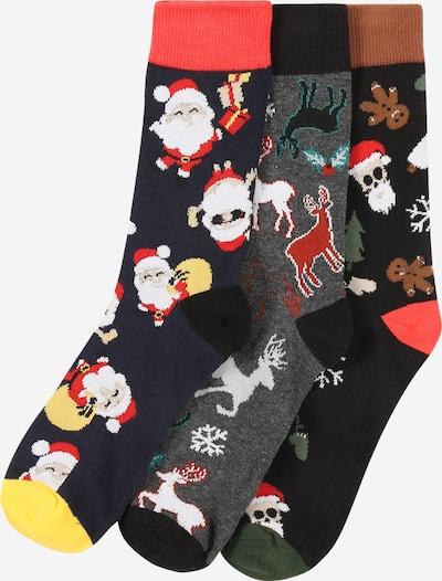 Kojinės 'FUNNY SANTA' iš Jack & Jones Junior , spalva - tamsiai mėlyna / margai pilka / ugnies raudona / juoda / balta, Prekių apžvalga