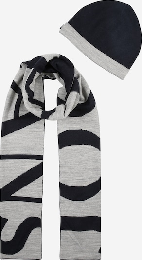 JOOP! Jeans Mütze und Schal 'Malik' in dunkelblau / graumeliert, Produktansicht