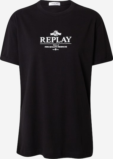 Tricou REPLAY pe negru / alb, Vizualizare produs