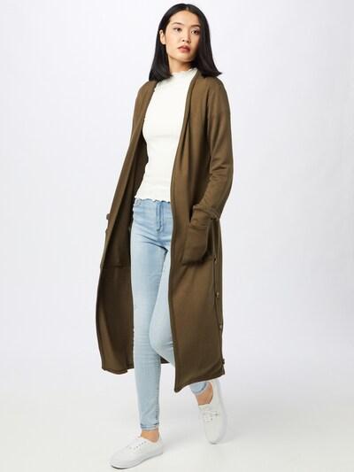 Cream Knitted Coat 'Sally' in Khaki, View model