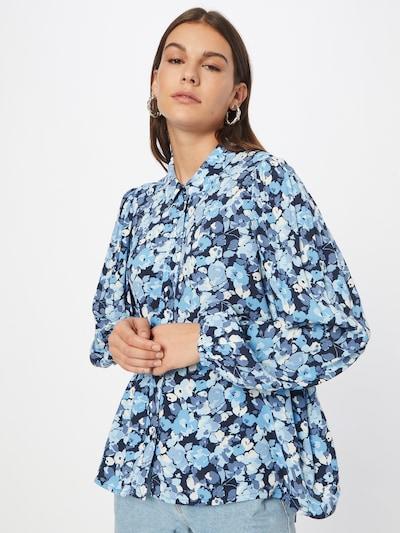 TOM TAILOR DENIM Bluse in blau / navy / hellblau / weiß, Modelansicht