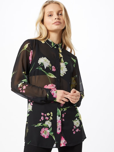 GUESS Bluse in grün / pink / schwarz, Modelansicht