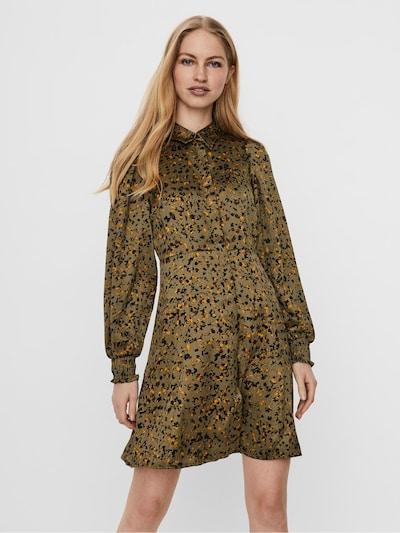 VERO MODA Blusenkleid 'Gaja' in oliv / orange / schwarz, Modelansicht
