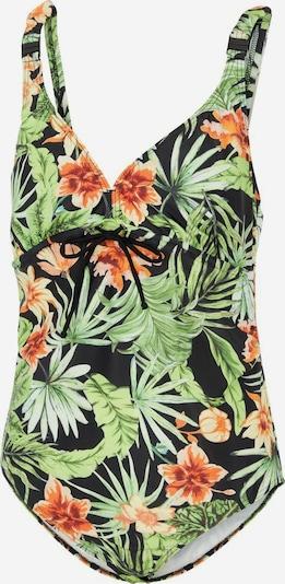 MAMALICIOUS Badeanzug 'Ussel' in grün / orange / schwarz, Produktansicht