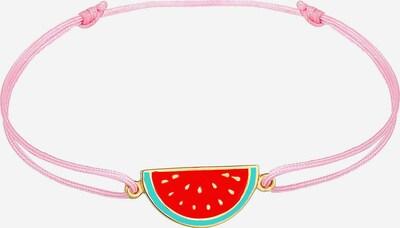 ELLI Armband Melone, Textil-Armband in gold / grün / pink / rot, Produktansicht