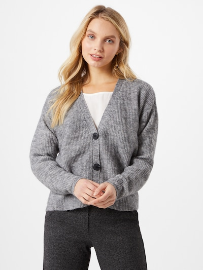 OBJECT Cardigan 'Holly' in grau / graumeliert, Modelansicht