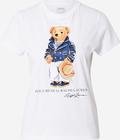 Tricou POLO RALPH LAUREN pe albastru porumbel / maro / alb, Vizualizare produs