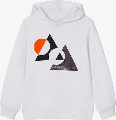 NAME IT Sweatshirt 'Nait' in dunkelgrau / orange / schwarz / weiß, Produktansicht