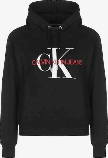 Calvin Klein Jeans Pull-over ' Crop Monogram ' en noir, Vue avec produit