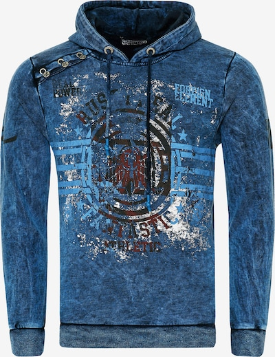 Rusty Neal Oil Washed Hoody mit Front-Print in blau, Produktansicht