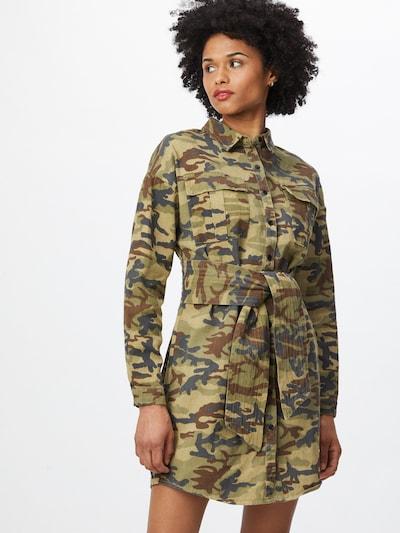 Rochie tip bluză Missguided pe navy / maro / kaki / verde deschis, Vizualizare model