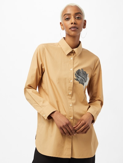 UNITED COLORS OF BENETTON Pusero värissä kameli / vaaleanharmaa / musta: Näkymä edestä