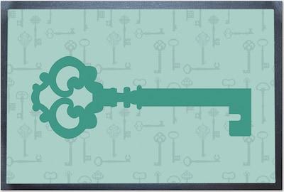 ACHOKA® Fußmatte 'Schlüssel' in grau / grün / schwarz, Produktansicht